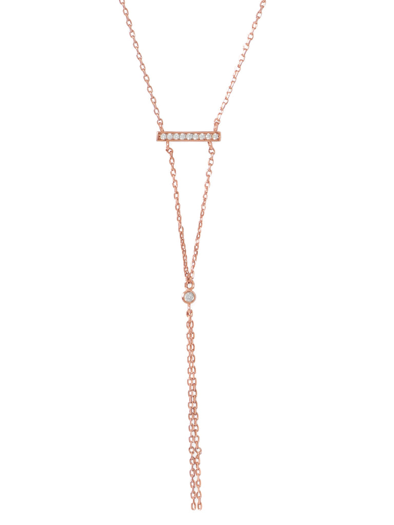 Rose Gold-plated Sterling Silver Bar Y Drop Necklace with Cubic Zirconia