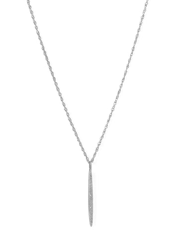 Genuine Diamond Rhodium-plated Sterling Silver Vertical Bar Necklace