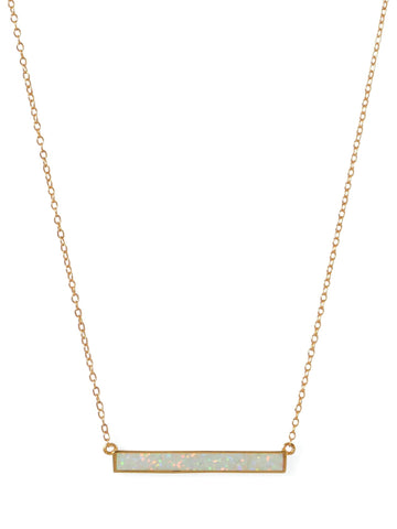Synthetic White Opal Bar Necklace Gold-plated Sterling Silver Adjustable