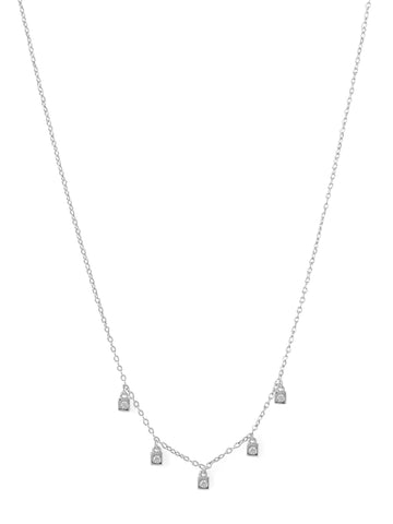 Cubic Zirconia Charm Drop Necklace Rhodium on Sterling Silver - Nontarnish