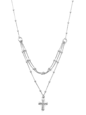 Layered Cross Necklace Rhodium on Sterling Silver Satellite Chain Bead