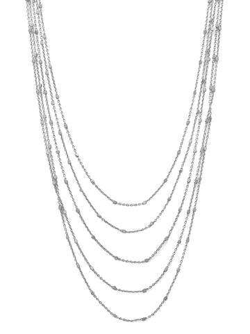 Layered Five Strand Necklace Rhodium on Sterling Silver Satellite Chain Bead