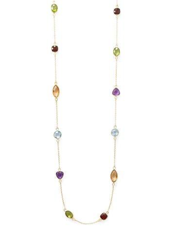 Long 25-inch Necklace with Citrine, Garnet, Peridot, Amethyst and Blue Topaz