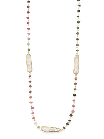 Tourmaline Bead and Cultured Freshwater Stick Pearl Necklace 24-inch Length