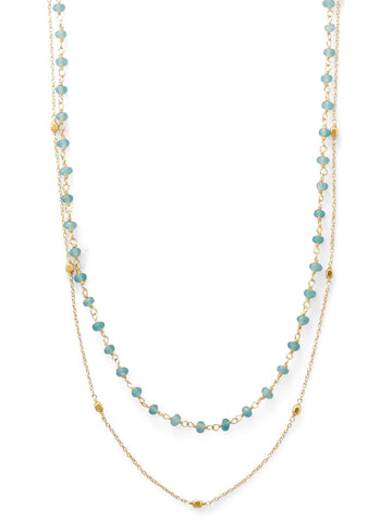 Double Strand Necklace with Apatite and Satellite Bead Stations Gold-plated