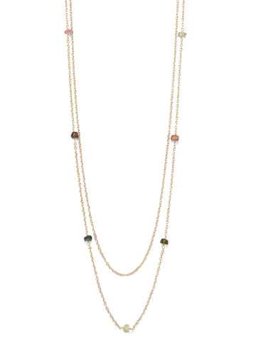 Double Strand Tourmaline Station Bead Necklace Gold-plated Sterling Silver