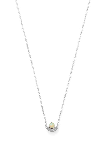 Synthetic Opal with Cubic Zirconia Crescent Necklace Adjustable Length