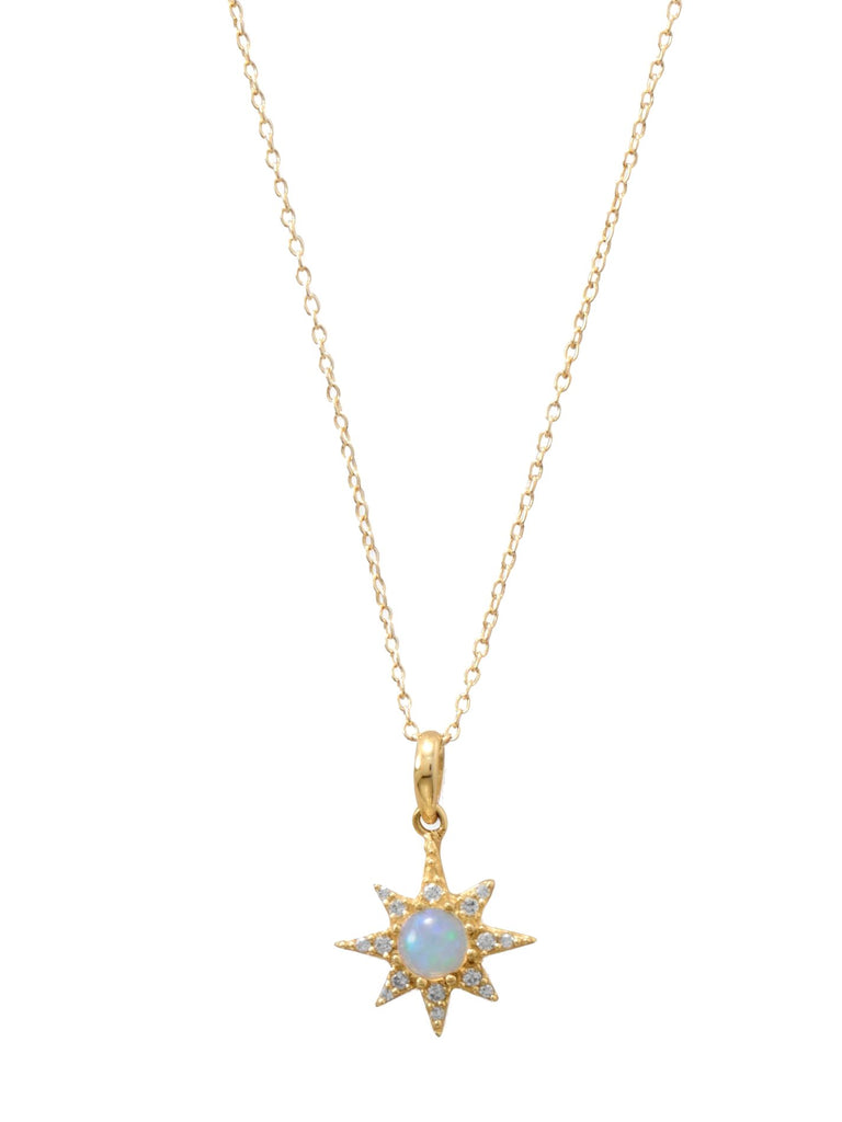 Synthetic Opal North Star Necklace with Cubic Zirconia Gold-plated Sterling Silver