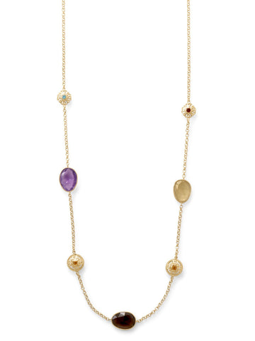14k Gold-plated Amethyst Smoky, Lemon Quartz Citrine Blue Topaz Garnet Necklace