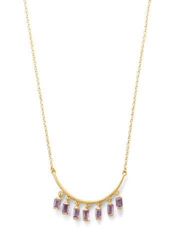 Amethyst Drops Curved Bar Necklace Gold-plated Sterling Silver