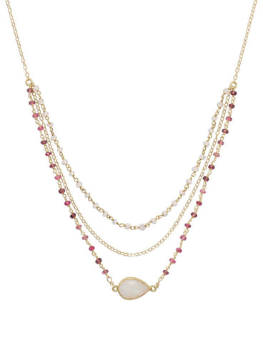 14k Gold-filled Three-Strand Rainbow Moonstone and Tourmaline Necklace