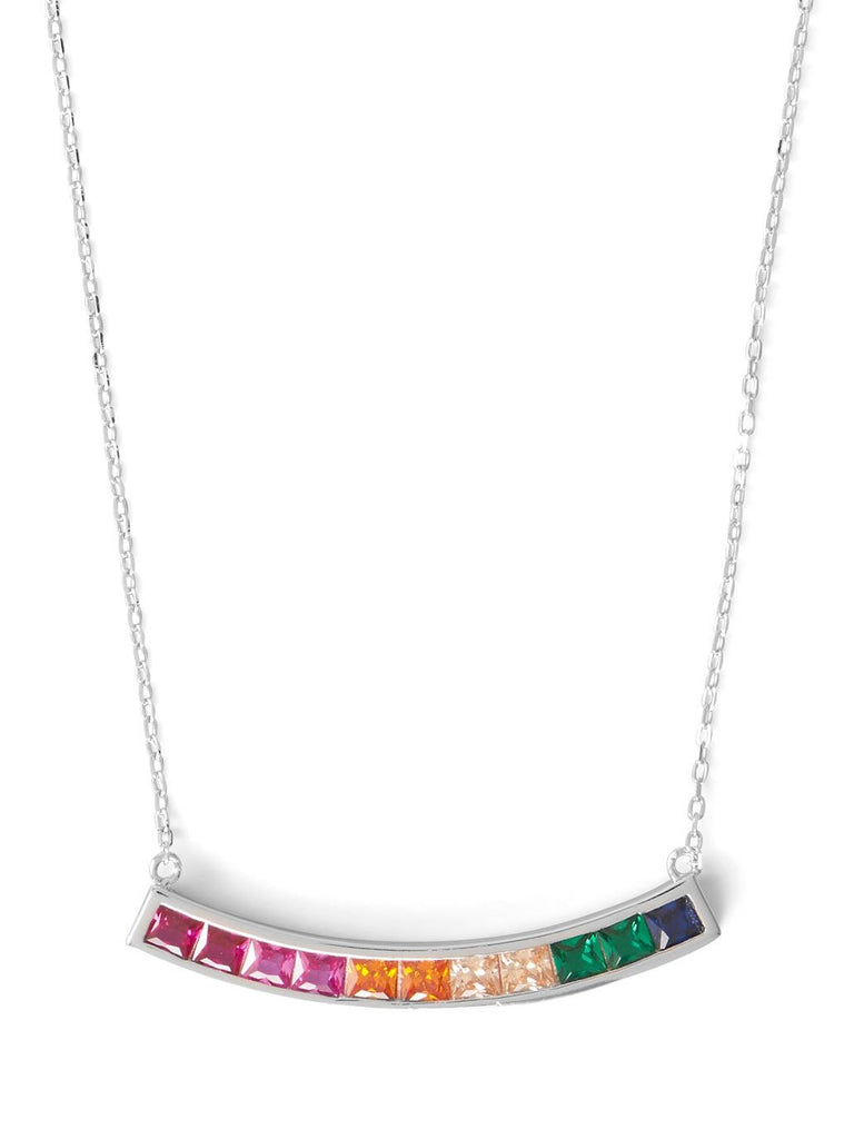 Bar Necklace Rainbow Color Cubic Zirconia Rhodium on Sterling Silver