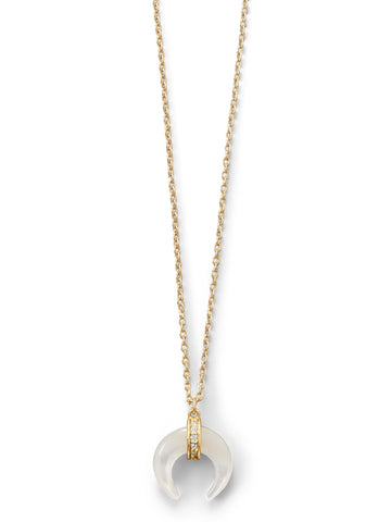 Naja Crescent Necklace Mother of Pearl Cubic Zirconia 14k Gold-plated Silver