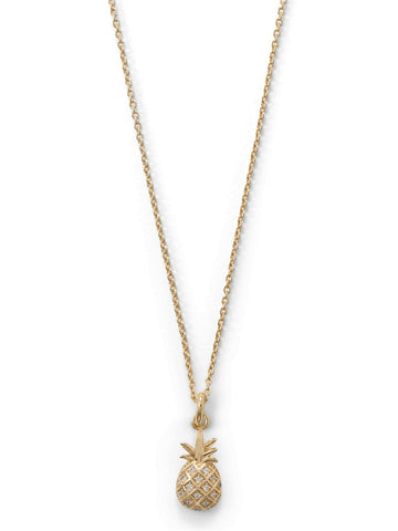 Pineapple Necklace with Cubic Zirconia 14k Gold-plated Sterling Silver