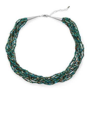 Turquoise 12-Strand Torsade Necklace Sterling Silver Adjustable Length