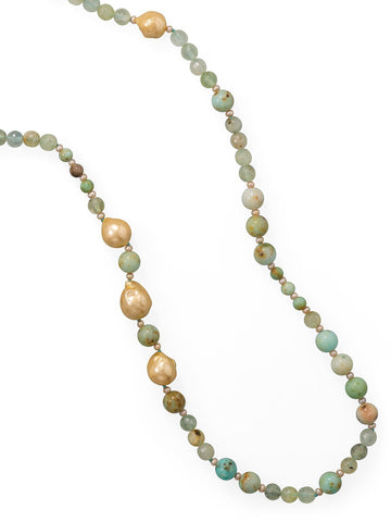 14/20 Gold-filled Bead Necklace with Prehnite and Cultured Freshwater Pearls