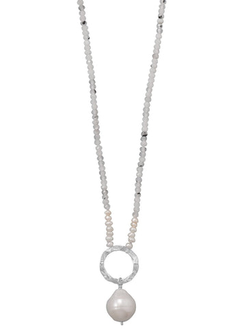 Sparkly Quartz and Cultured Freshwater Pearl Necklace with Hammered Silver Ring
