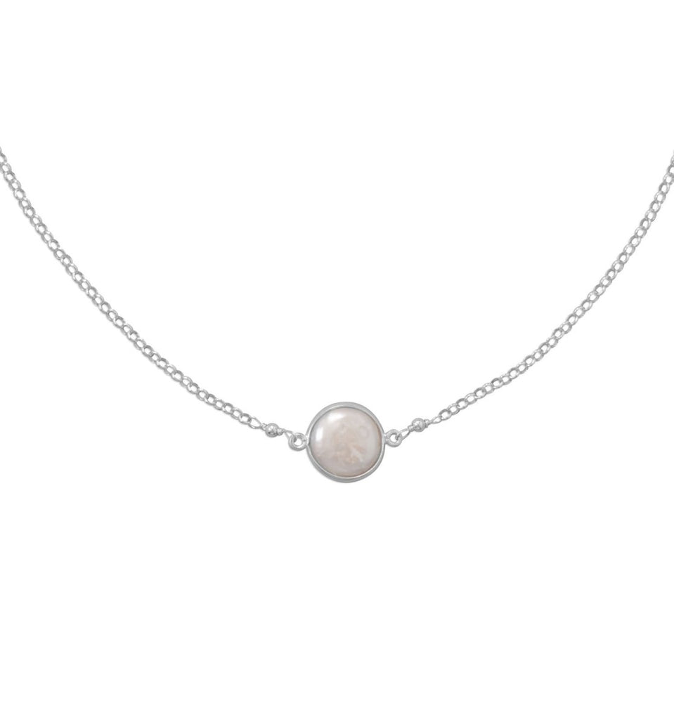 Bezel-set Cultured Freshwater Coin Pearl Necklace Sterling Silver