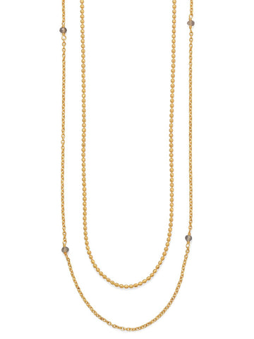 Double Strand 14k Gold-plated Labradorite Necklace 36-inch Length
