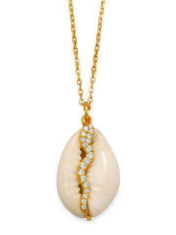 Cowrie Shell Necklace 14k Yellow Gold-plated Sterling Silver with Cubic Zirconia