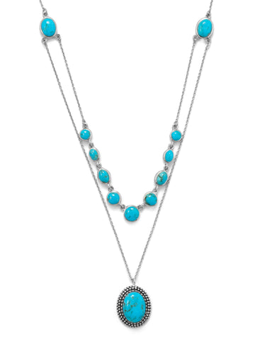 Layered Reconstituted Turquoise Necklace Sterling Silver