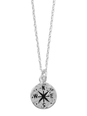 Compass Necklace  with Hammered Finish Adjustable Length Sterling Silver