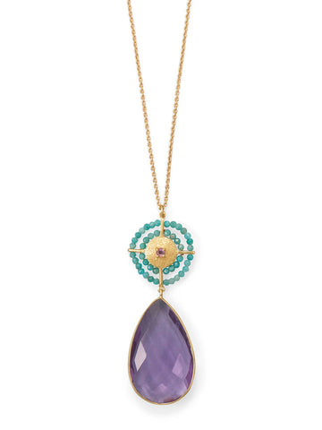 Amethyst Amazonite Turquoise Necklace 14k Gold-plated Silver Sun Design