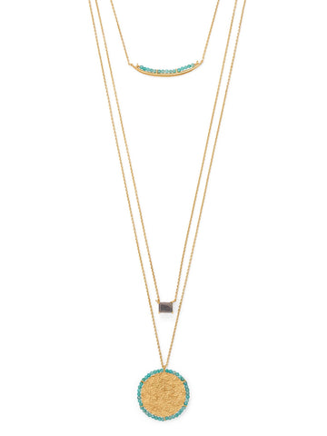 Three Strand Labradorite Amazonite Necklace with Disk Pendant Gold-plated Silver
