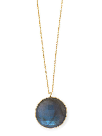 Labradorite Necklace 14k Gold-plated Sterling Silver Adjustable Length