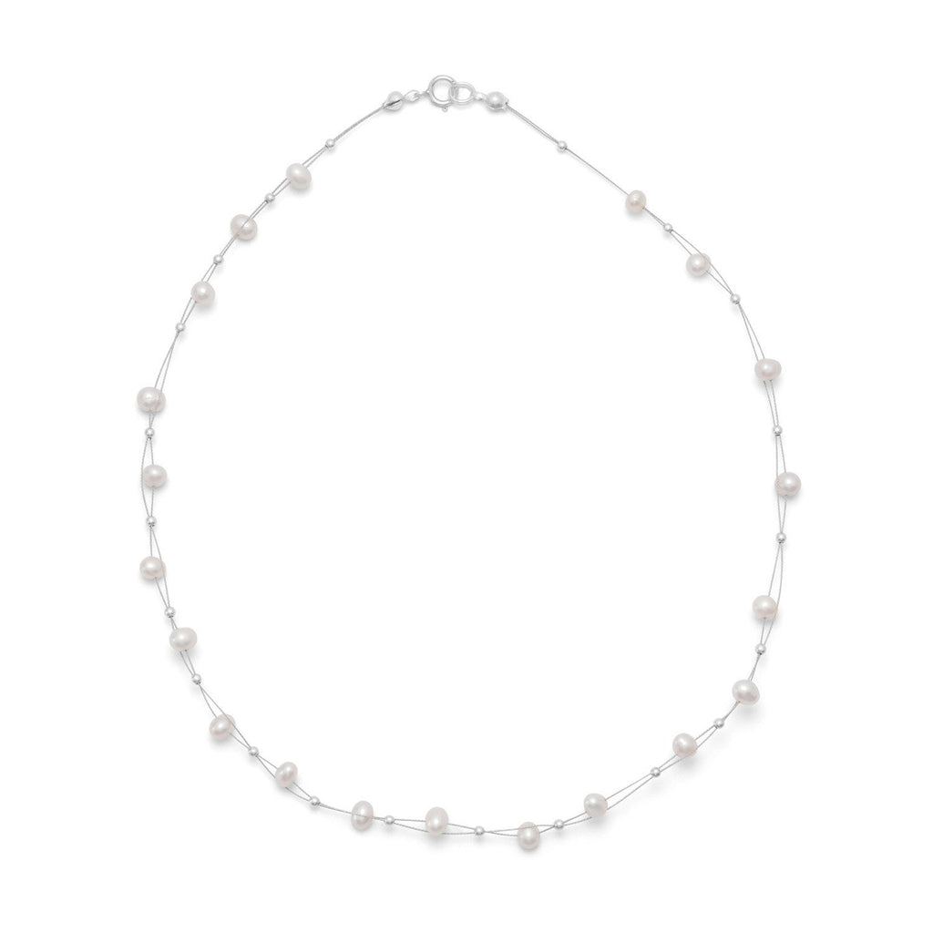 Two Strand Floating Cultured Freshwater Pearl Necklace with Sterling Silver Beads 16 inch