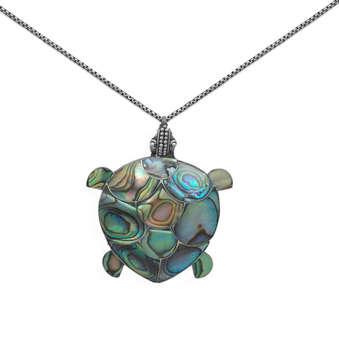 Sea Turtle Paua Shell Sterling Silver Necklace or Pin - Chain Included
