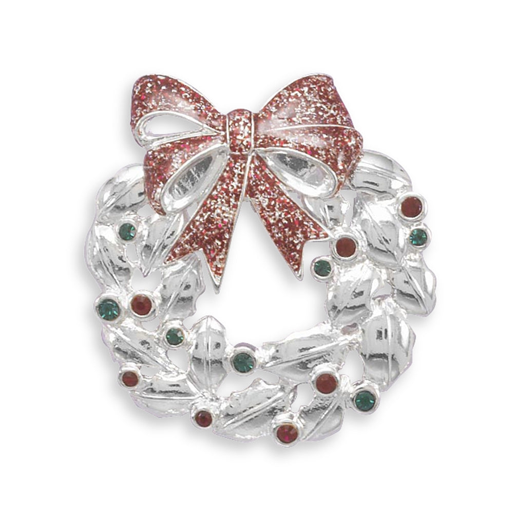 AzureBella Jewelry Christmas Wreath Pin Brooch Accented with Red and Green Crystals