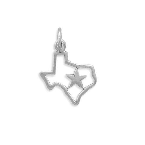 State of Texas with Star Charm Polished Sterling Silver - Made in the USA
