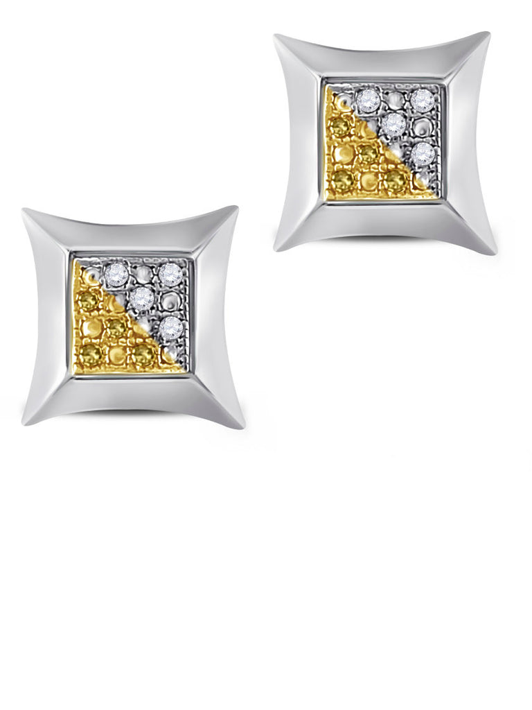 Two-tone Diamond Stud Earrings Sterling Silver Color Enhanced Yellow Diamonds