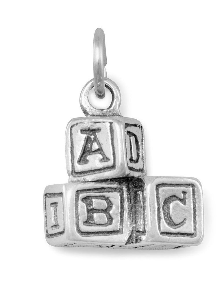 ABC Blocks Charm Sterling Silver, Made in the USA