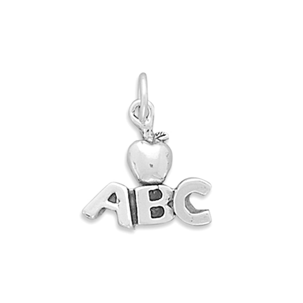 ABC with Apple Sterling Silver Charm, Made in the USA