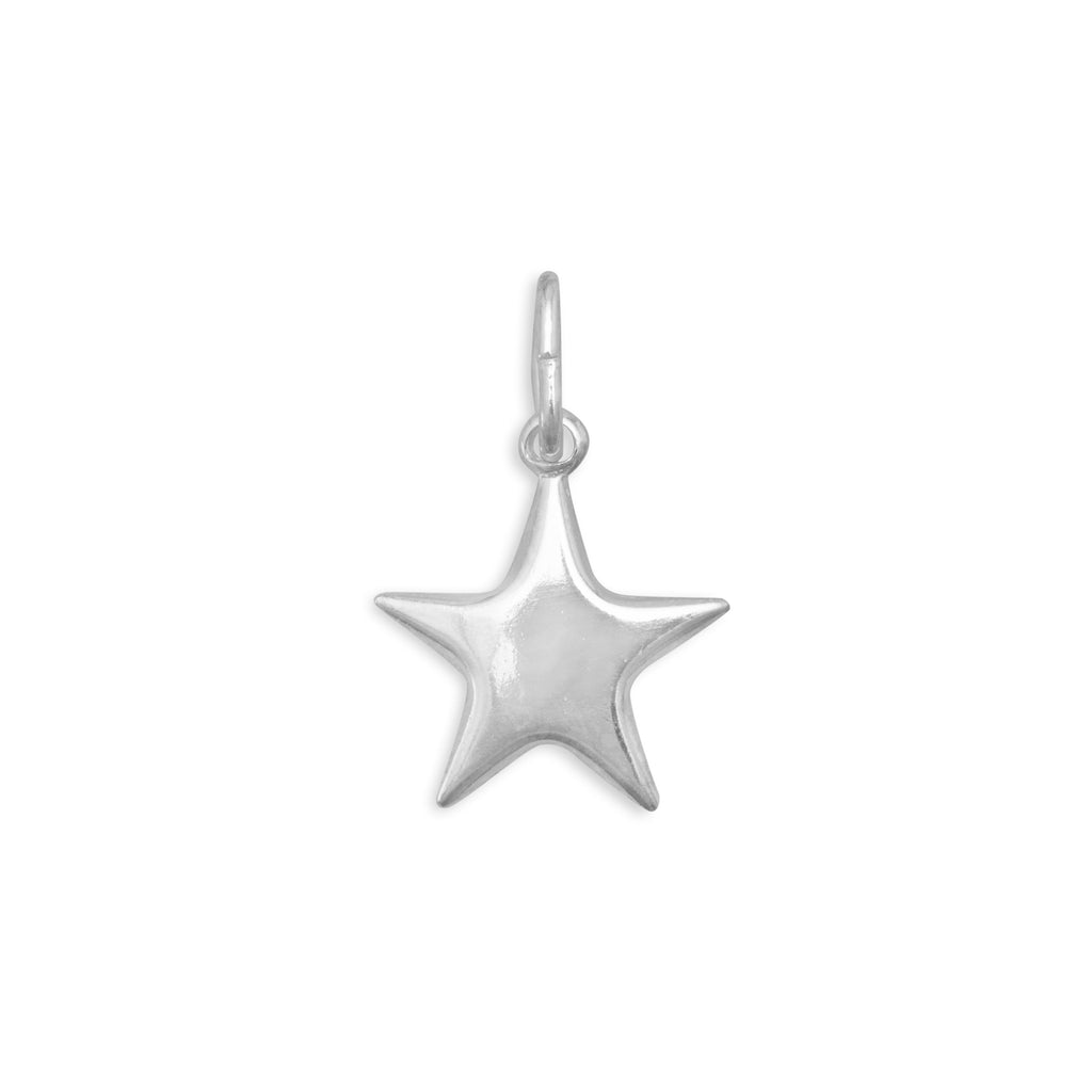 Star Charm Puffed Polished Sterling Silver