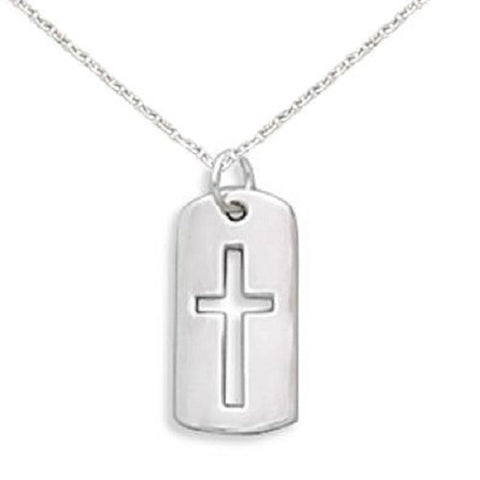 Cross Necklace with Cut Out Tag Sterling Silver, Includes Chain