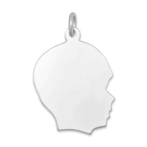 Boy Silhouette Charm Sterling Silver