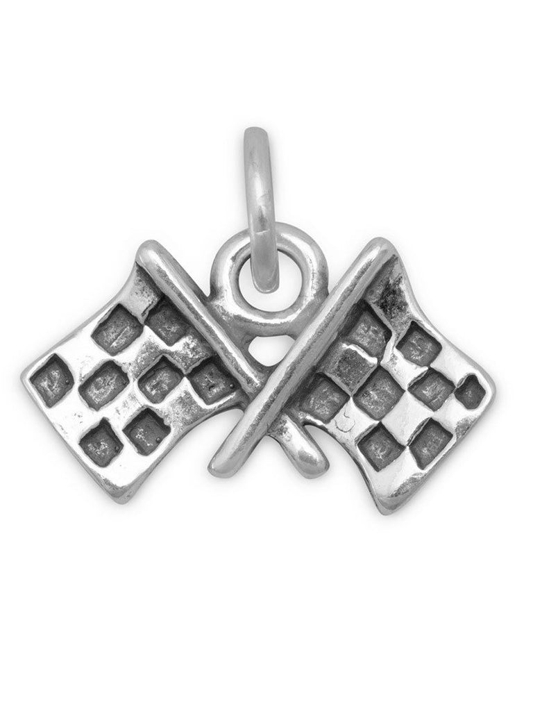 Checkered Flags Charm Racing Sterling Silver, Made in the USA