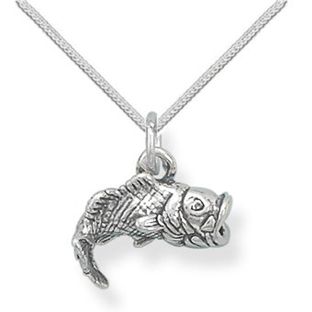 3-D Large Mouth Bass Necklace Sterling Silver - Chain Included