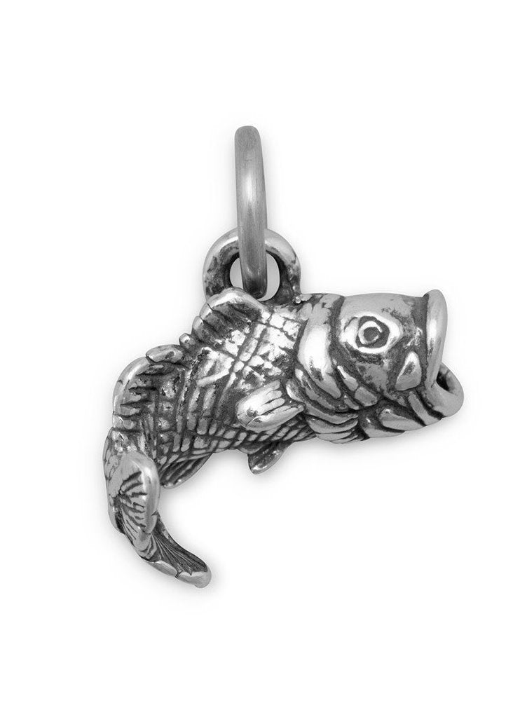 3-D Large Mouth Bass Charm Sterling Silver