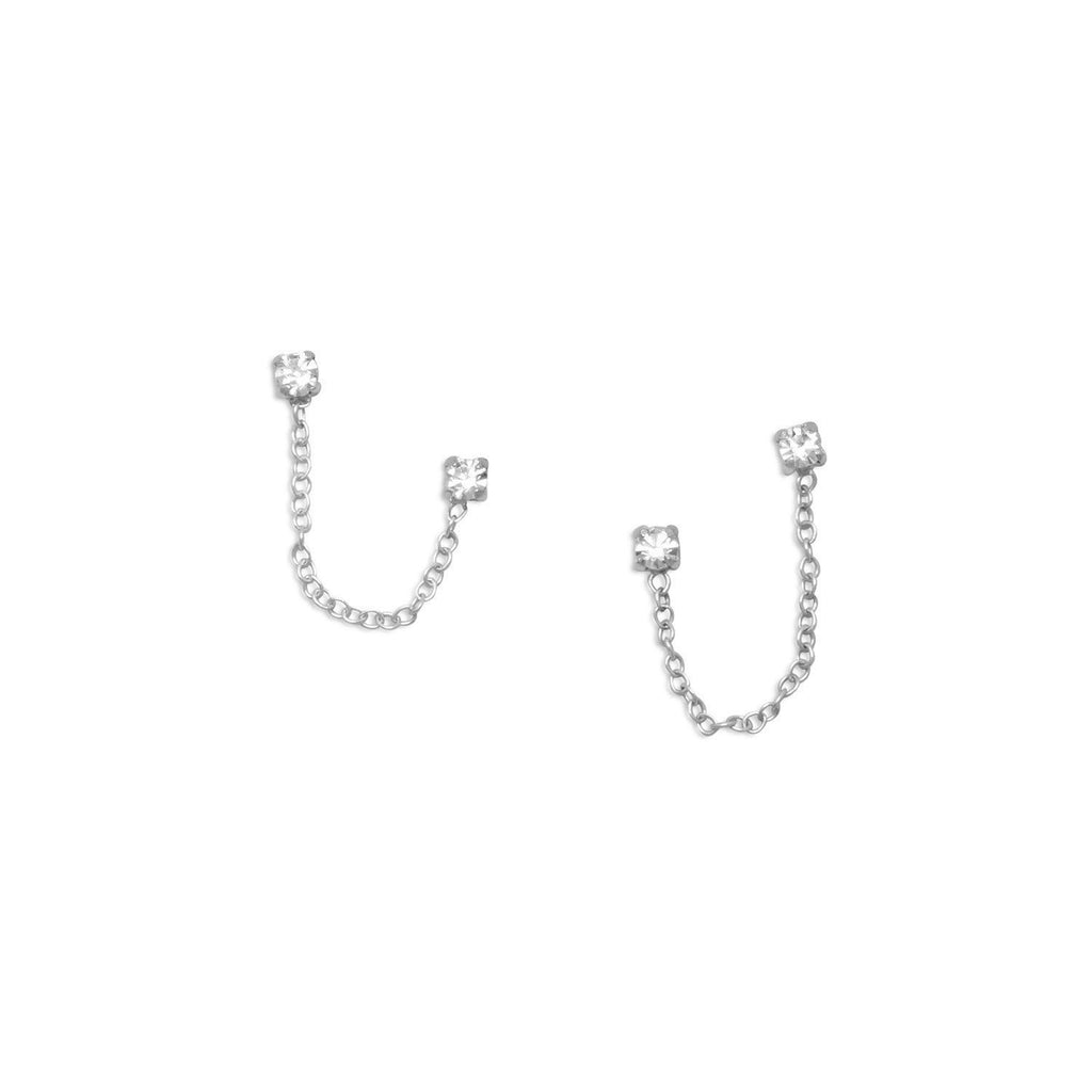 Crystal Chain Double Post Sterling Silver Earrings