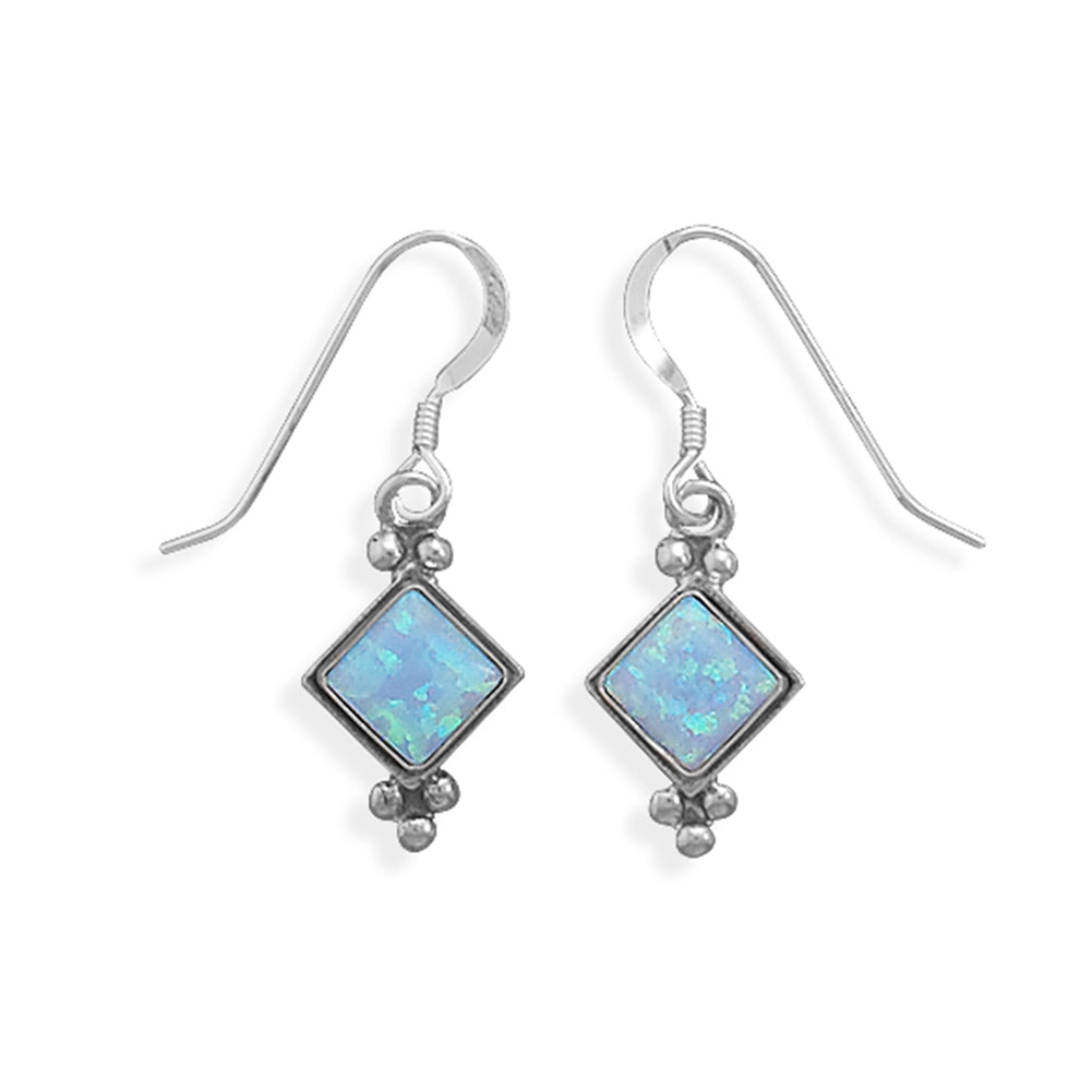 Synthetic Blue Opal Earrings Sterling Silver
