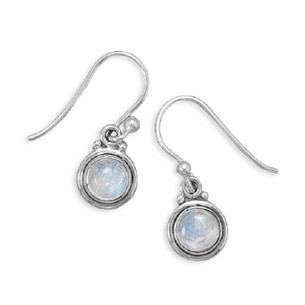 Rainbow Moonstone Polished Edge Round Sterling Silver Earrings
