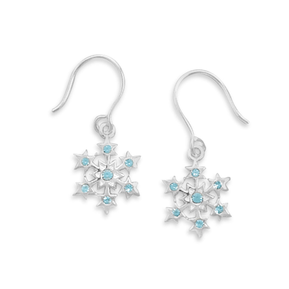 Small Snowflake with Blue Crystal Earrings Sterling Silver