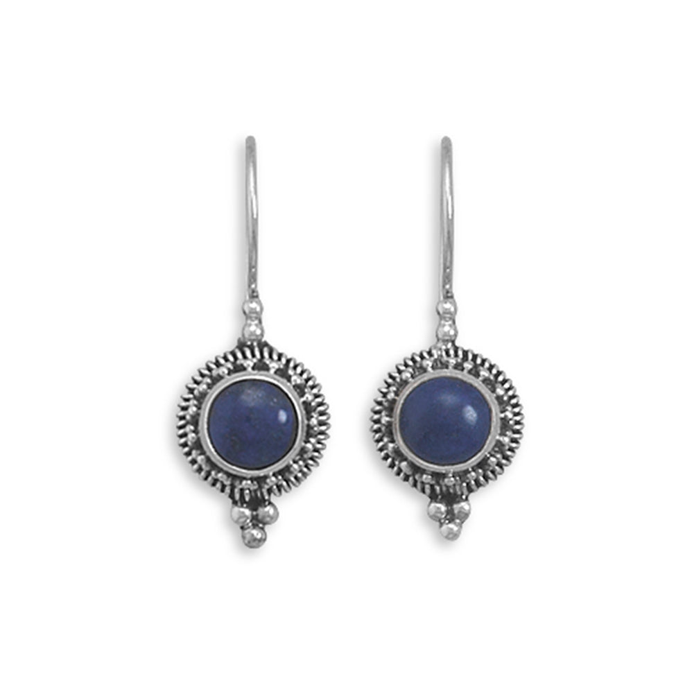 Lapis Lazuli Earrings Bead Rope Edge Sterling Silver