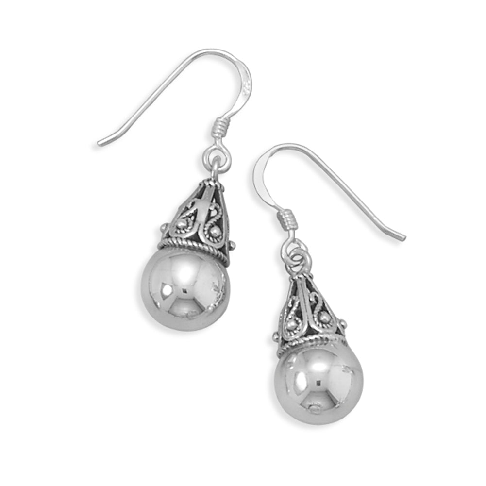 Sterling Silver 8mm Bead with Bali Cap Earrings