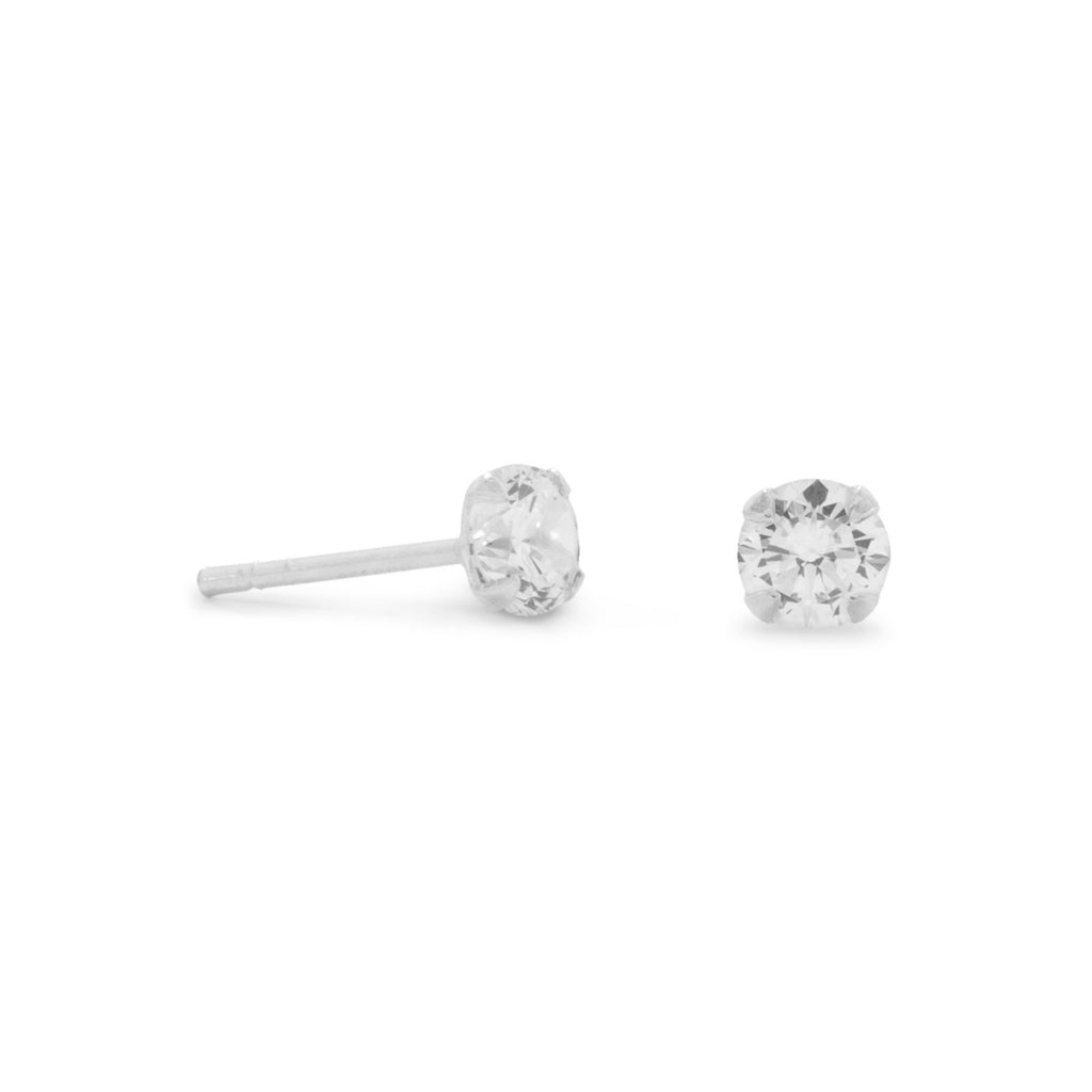 4mm Cubic Zirconia Sterling Silver Stud Earrings