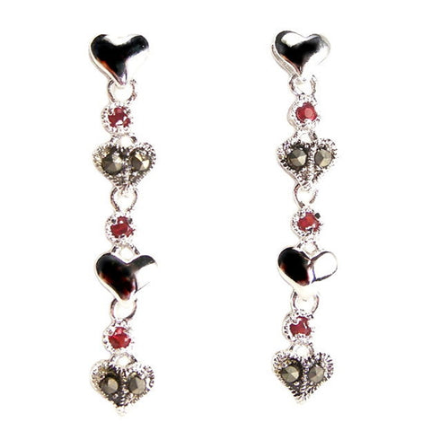 Polished Heart Long Dangle Earrings Red Cubic Zirconia Accents Sterling Silver